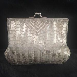 Silver Beaded Evening Bag